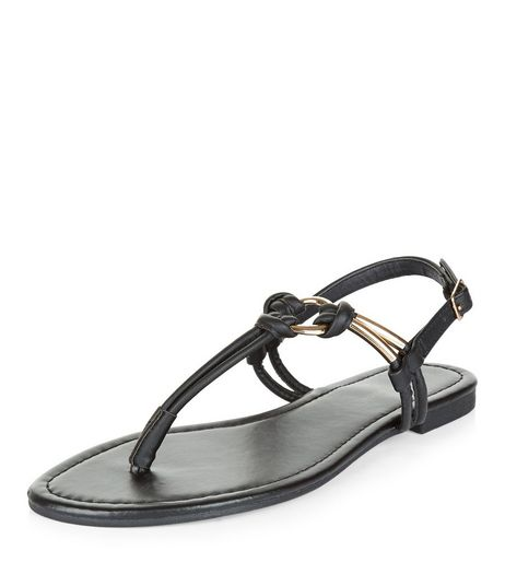 Black Metal Trim T-Bar Strap Sandals  | New Look