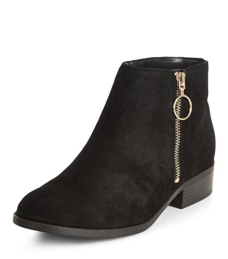 Teens Black Suede Block Heel Ankle Boots | New Look