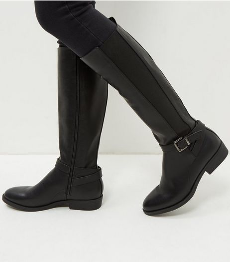 Black Strap Front Elasticated Panel Knee High Boots  | New Look