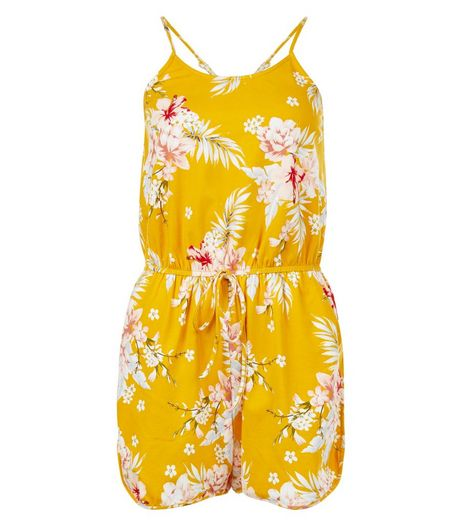 Yellow Floral Print Strappy Playsuit  | New Look