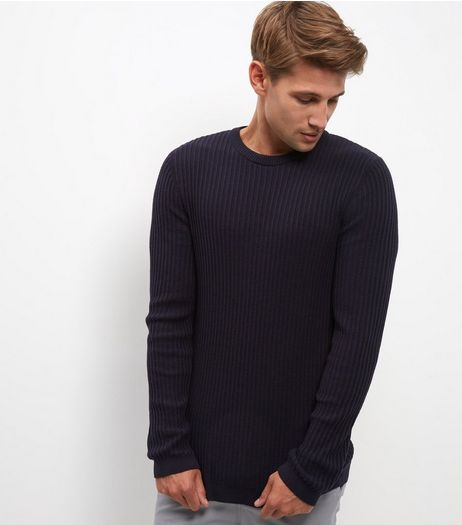 Navy Ribbed Crew Neck Jumper  | New Look