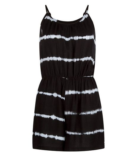 Black Tie Dye Stripe Playsuit  | New Look