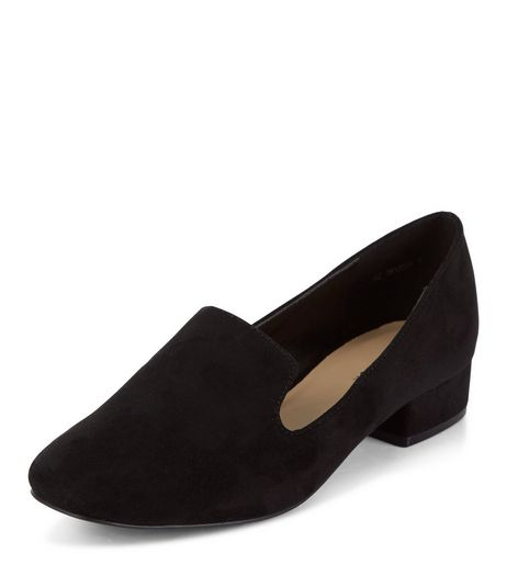 Black Block Heel Slipper Shoes | New Look