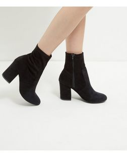 Black Suedette Block Heel Boots  | New Look