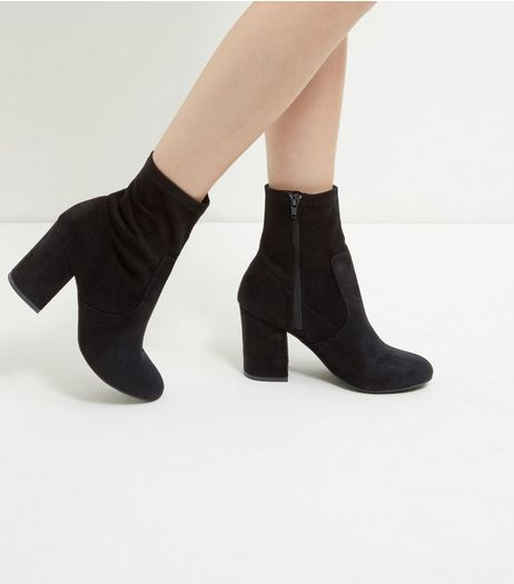 Black Suedette Block Heel High Ankle Boots  | New Look