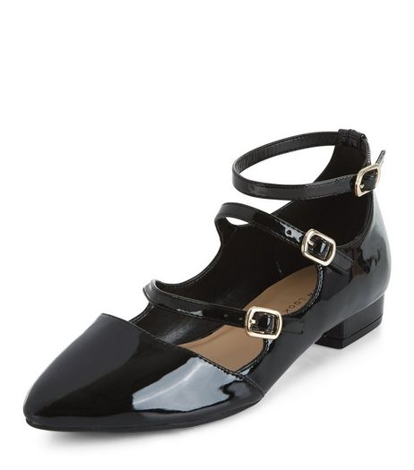 Black Triple Strap Pointed Pumps | New Look