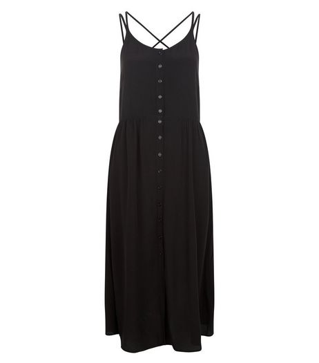 Black Button Front Strappy Midi Dress  | New Look
