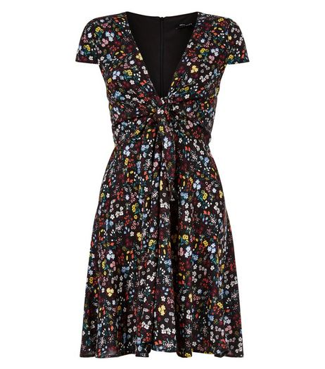 Black Floral Print Tie Front Tea Dress  | New Look