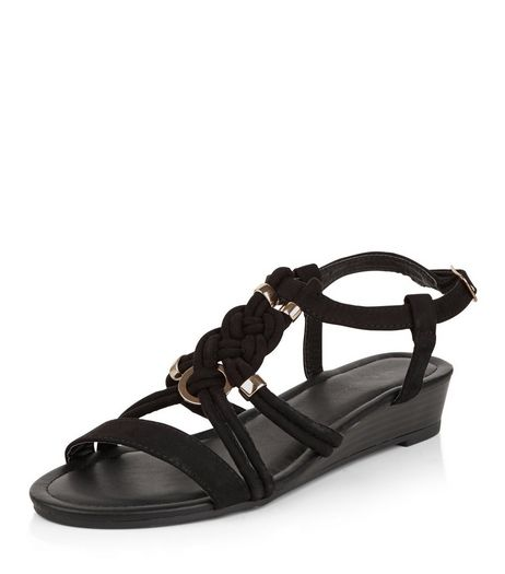 Black Plaited Strap Wedge Sandals | New Look