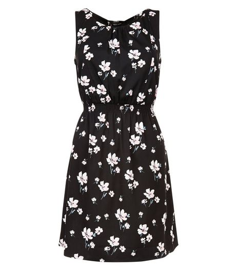 Black Floral Print Sleeveless Dress | New Look