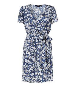 Blue Daisy Floral Print Wrap Front Dress  | New Look
