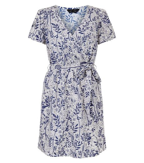 White Floral Print Belted Wrap Dress | New Look