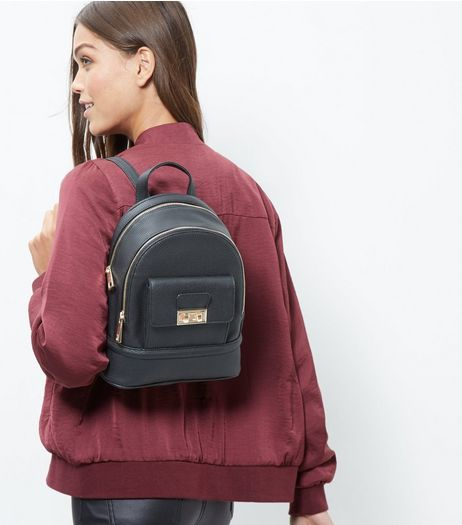 Black Leather-Look Mini Backpack | New Look