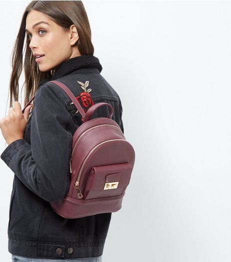 Burgundy Leather-Look Mini Backpack | New Look