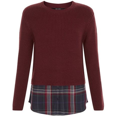 Teens Burgundy 2 in 1 Check Print Shirt and Jumper | New Look