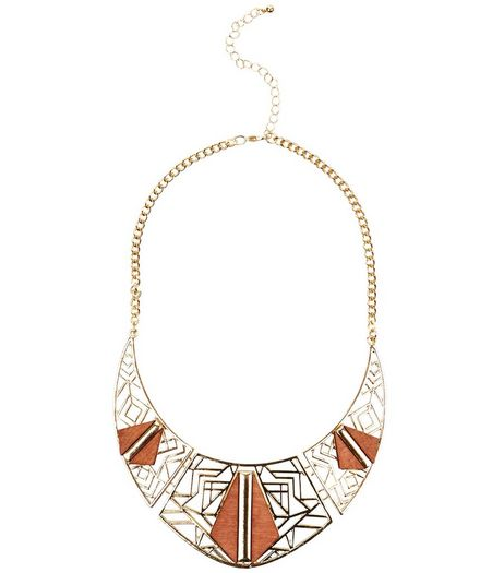 Light Brown Wooden Cut Out Necklace | New Look