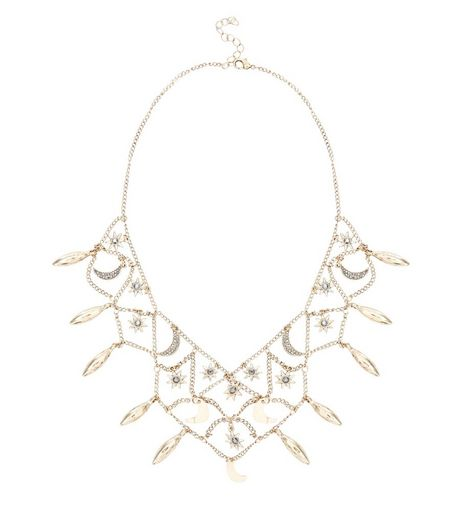 Gold Floral Gem Stone Drape Necklace | New Look