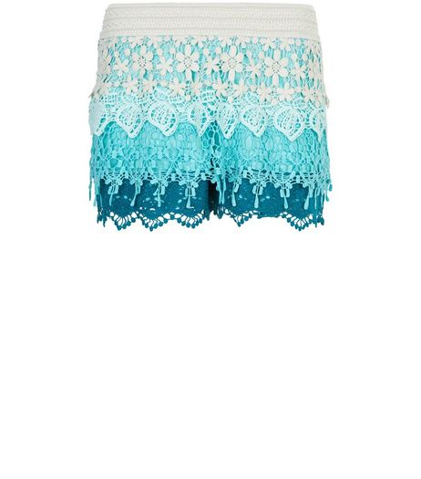 Blue Ombre Floral Crochet Shorts | New Look