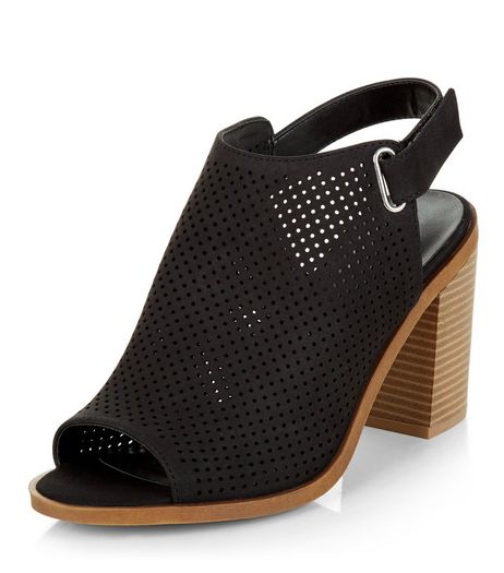 Wide Fit Black Laser Cut Out Sling Back Block Heels  | New Look