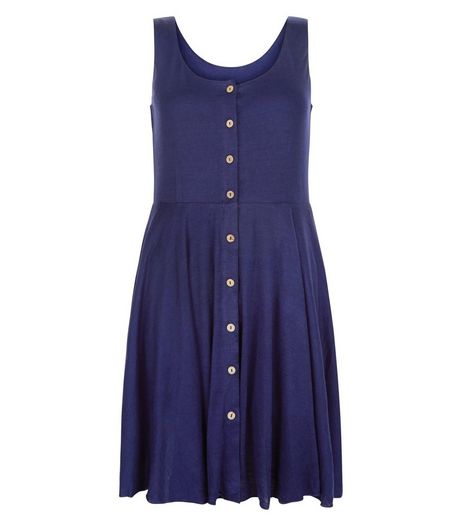 Apricot Navy Button Front Sleeveless Dress | New Look