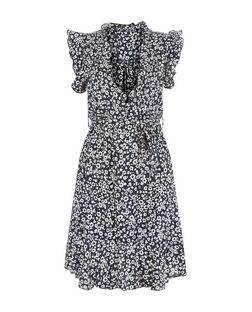 Apricot Navy Floral Print Frill V Neck Dress | New Look