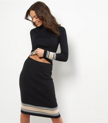 Black Stripe Hem Pencil Skirt  | New Look