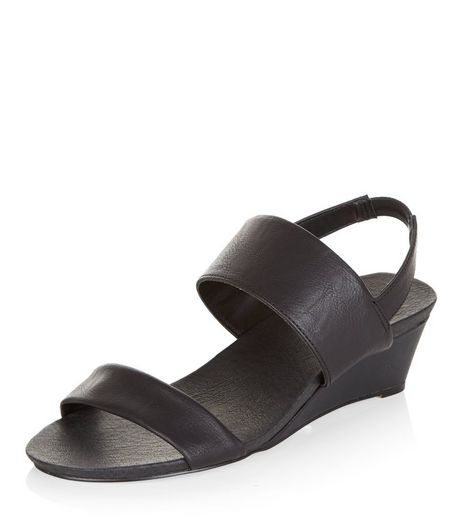 Wide Fit Black Strappy Wedge Sandals  | New Look