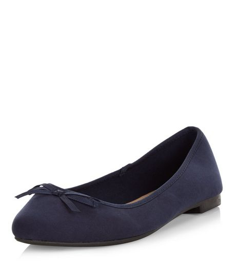 Wide Fit Navy Suedette Ballet Pumps | New Look