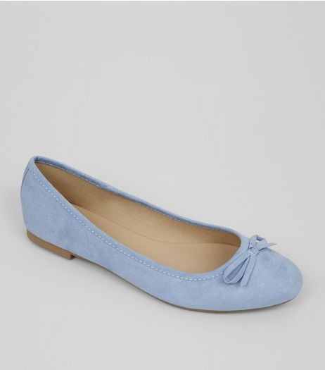 Wide Fit Pale Blue Suedette Ballet Pumps | New Look