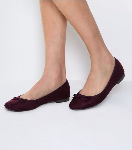 Wide Fit Dark Purple Suedette Ballet Pump | New Look
