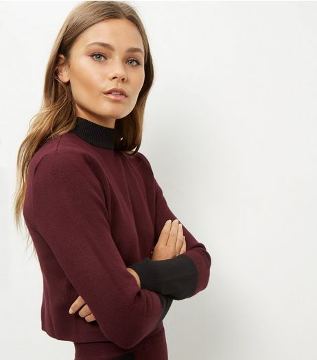 Burgundy Contrast Stripe Cropped Jumper  | New Look
