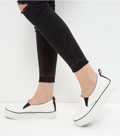 Wide Fit White Snakeskin Texture Flatform Plimsolls | New Look