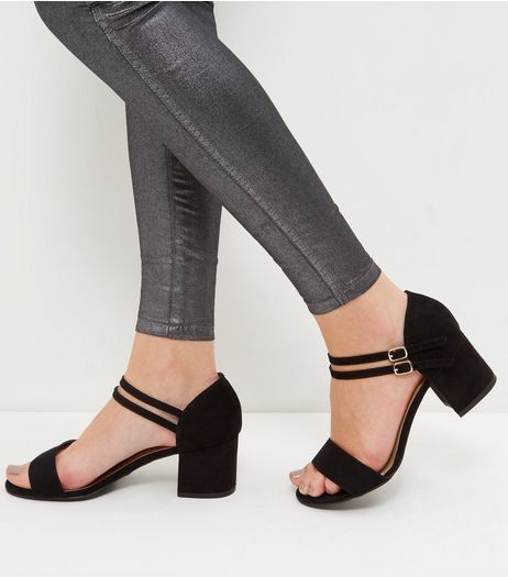 Wide Fit Black Suedette Ankle Strap Block Heels  | New Look