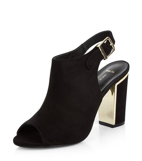 Wide Fit Black Suedette Metal Trim Block Heels | New Look