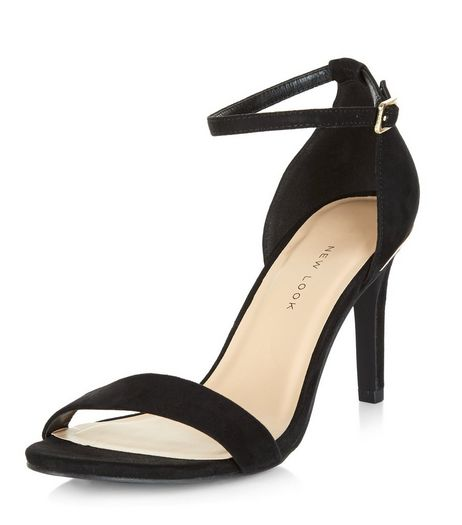 Wide Fit Black Suedette Metal Trim Ankle Strap Heels  | New Look