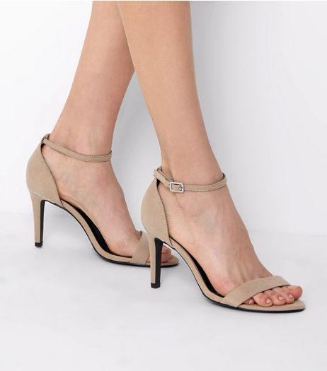 Wide Fit Mink Suedette Metal Trim Ankle Strap Heels | New Look
