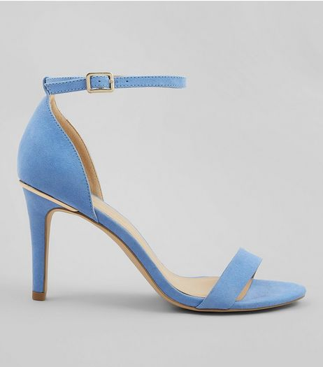 Wide Fit Blue Suedette Metal Trim Ankle Strap Heels | New Look