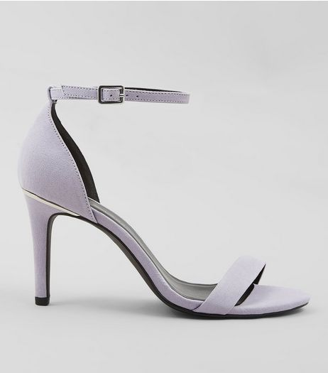 Wide Fit Lilac Suedette Metal Trim Ankle Strap Heels  | New Look