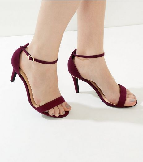 Wide Fit Dark Red Suedette Metal Trim Ankle Strap Heels | New Look
