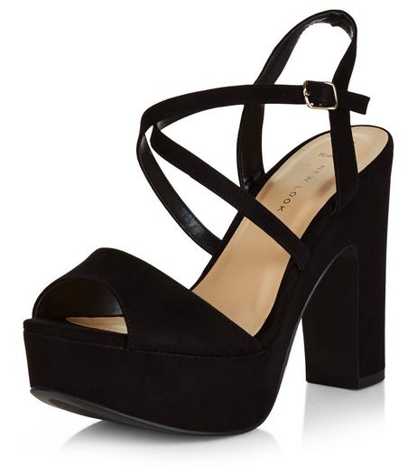 Wide Fit Black Suedette Cross Strap Block Heels  | New Look