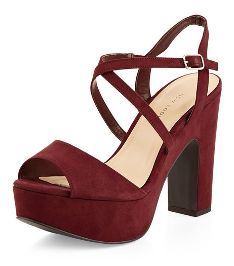 Wide Fit Dark Red Suedette Cross Strap Block Heels  | New Look