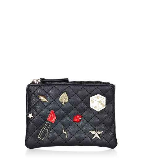 Black Quilted Badge Purse  | New Look