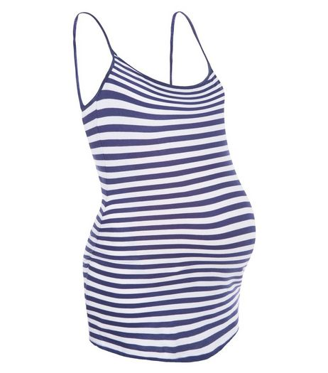 Maternity Blue Stripe Strappy Vest | New Look