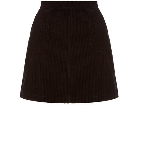 Teens Black Cord A-Line Skirt | New Look