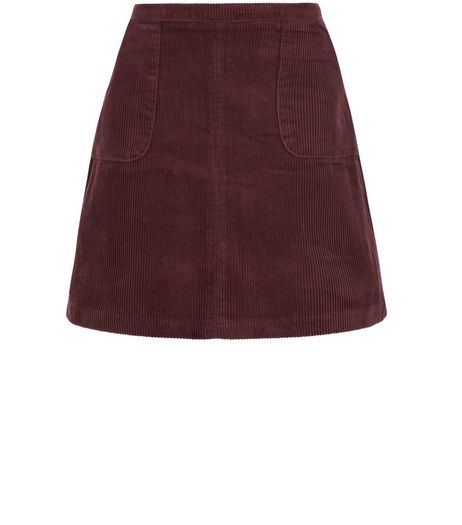 Teens Burgundy Cord A-Line Skirt  | New Look