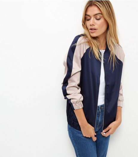 Blue Sateen Colour Block Bomber Jacket  | New Look