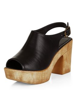 Black Peep Toe Sling Back Platform Sandals  | New Look