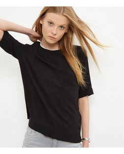 Black Woven Contrast Neckline Top | New Look