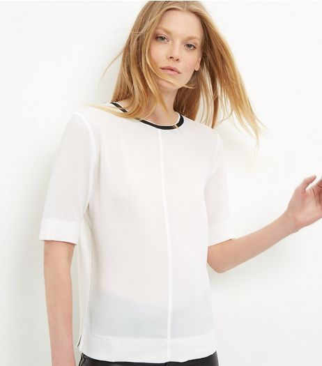 Cream Woven Contrast Neckline Top | New Look
