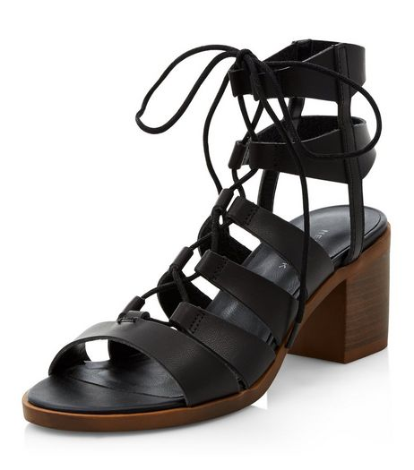 Black Ghillie Block Heel Sandals  | New Look